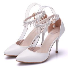 Charming Ivory Evening Party Womens Shoes 2020 Pearl Rhinestone Ankle Strap 9 cm Stiletto Heels Pointed Toe High Heels