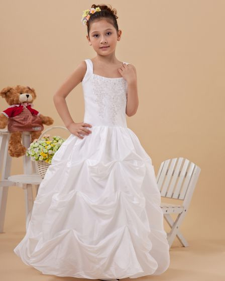 Fashion Ruffle Beading Square Neck Floor Length Taffeta Flower Girl Dresses