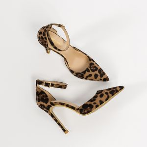 Fashion Brown Street Wear Leopard Print Womens Sandals 2020 Ankle Strap 10 cm Stiletto Heels Pointed Toe Sandals