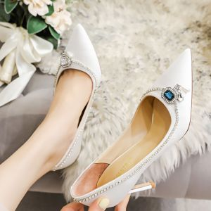 Mode Witte Bruidsschoenen 2020 Leer Rhinestone 8 cm Naaldhakken / Stiletto Spitse Neus Huwelijk Pumps
