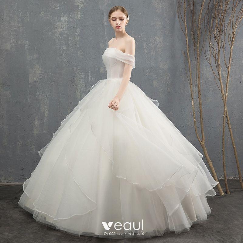 Charming Ivory Wedding Dresses 2018 Ball Gown Cascading Ruffles Off-The-Shoulder Backless Sleeveless Floor-Length / Long Wedding