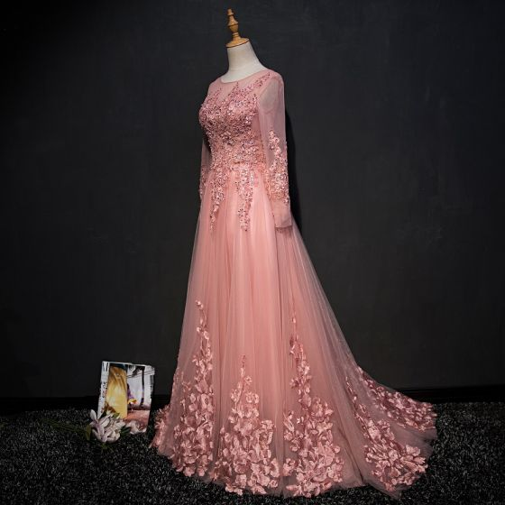 Chic / Beautiful Pearl Pink Evening Dresses  2017 A-Line / Princess Scoop Neck Long Sleeve Appliques Lace Sequins Beading Pearl Rhinestone Sweep Train Ruffle Backless Formal Dresses