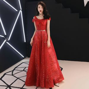 Charming Red Evening Dresses  2019 A-Line / Princess V-Neck Beading Sequins Metal Sash Glitter Tulle Short Sleeve Backless Floor-Length / Long Formal Dresses