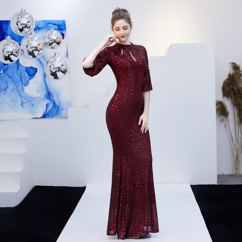 Sparkly Black Evening Dresses  2019 Trumpet / Mermaid Scoop Neck Sequins Sash 1/2 Sleeves Floor-Length / Long Formal Dresses