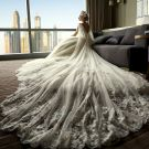Stunning Ivory Wedding Dresses 2018 A-Line / Princess V-Neck Sleeveless Backless Appliques Lace Beading Ruffle Royal Train