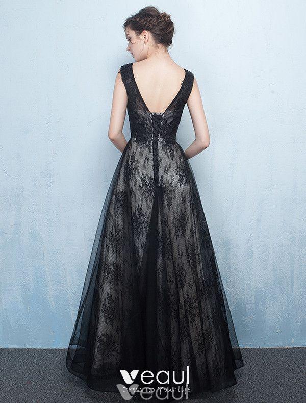 Scoop Neckline Applique Lace Black Long Tulle Evening Dresses 2017
