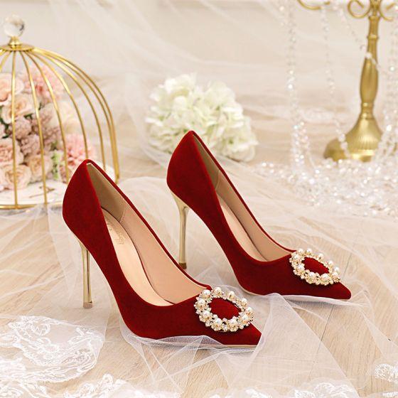Moda Rojo Perla Rhinestone Zapatos de novia 2021 10 cm Stilettos / Tacones De Aguja Punta Estrecha Boda Tacones High Heels
