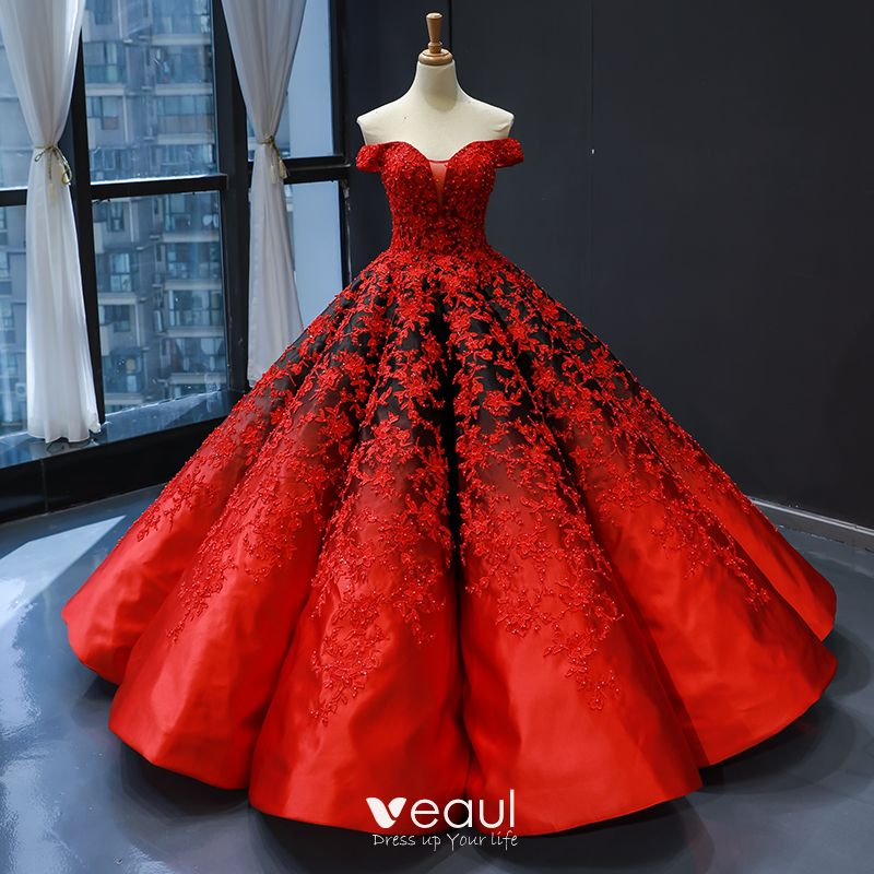 Red Black Satin Dancing Prom Dresses