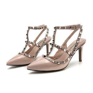 Moda Nude Stilettos / Tacones De Aguja Tacones 2017 Punta Estrecha High Heels T-Correa Zapatos De Mujer