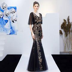 Charming Black Gold Evening Dresses  2019 Trumpet / Mermaid V-Neck Sequins Short Sleeve Backless Floor-Length / Long Formal Dresses