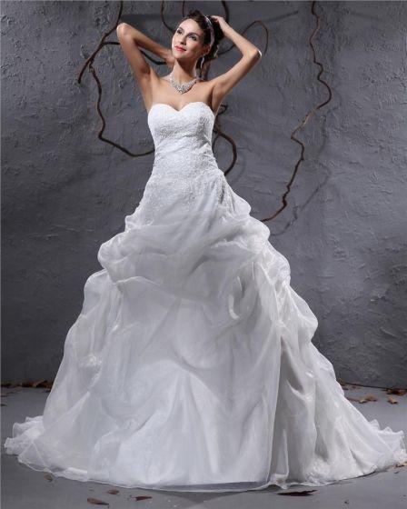 Elegant Organza Plissert Applikasjon Kjaereste Gulv Lengde Domstol Tog Ball Kjole Brudekjoler Bryllupskjoler
