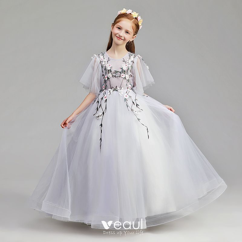 Modest Simple Lavender Flower Girl Dresses 2019 A Line Princess Scoop Neck 1 2 Sleeves Appliques Lace Pearl Floor Length Long Ruffle Wedding