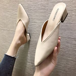 Affordable Ivory Casual Womens Sandals 2020 Thick Heels Pointed Toe Sandals