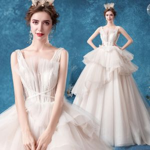 Affordable White Bridal Wedding Dresses 2020 Ball Gown Shoulders Sleeveless Backless Appliques Lace Glitter Tulle Court Train Ruffle