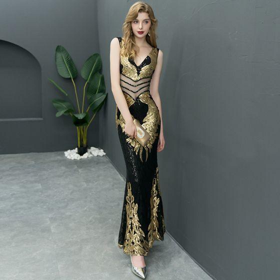 Błyszczące Czarne Złote Sukienki Wieczorowe 2019 Syrena / Rozkloszowane V-Szyja Cekiny Bez Rękawów Długość Kostki Sukienki Wizytowe