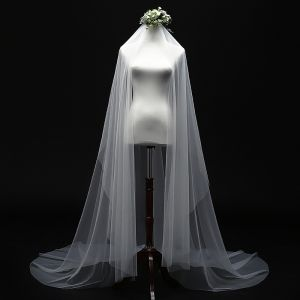 Modest / Simple Ivory 3 m Wedding Veils Elegant Classic Tulle Chapel Train Wedding Accessories 2019