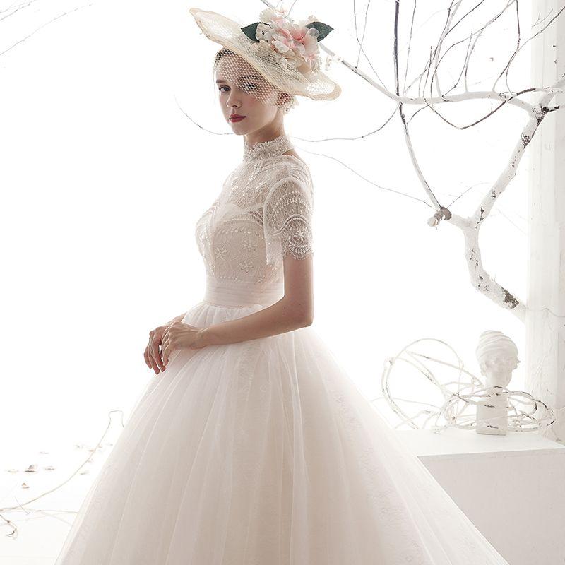 Vintage / Retro Ivory See-through Wedding Dresses 2019 A-Line / Princess High Neck Short Sleeve Backless Sequins Beading Chapel Train Ruffle