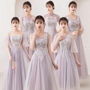 Asequible Rosa Clara Transparentes Vestidos De Damas De Honor 2019 A-Line / Princess Apliques Con Encaje Perla La altura del tobillo Ruffle Sin Espalda Vestidos para bodas