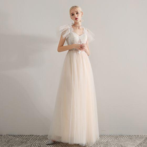 Elegant Champagne Gallakjoler 2019 Prinsesse Skuldre Ærmeløs Applikationsbroderi Med Blonder Beading Lange Flæse Halterneck Kjoler