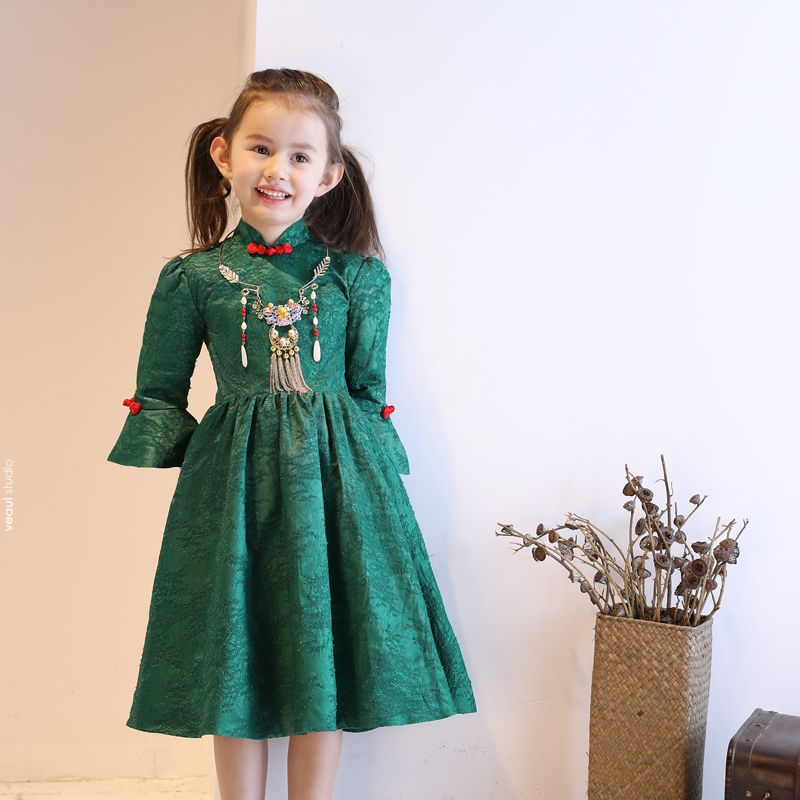 Chinese style Church Wedding Party Dresses 2017 Flower Girl Dresses Dark Green A-Line / Princess Tea-length High Neck 3/4 Sleeve Bow