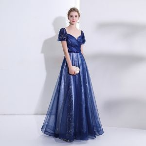 Elegant Royal Blue Evening Dresses  2018 A-Line / Princess Crystal Rhinestone Sequins Star Sweetheart Backless Short Sleeve Floor-Length / Long Formal Dresses