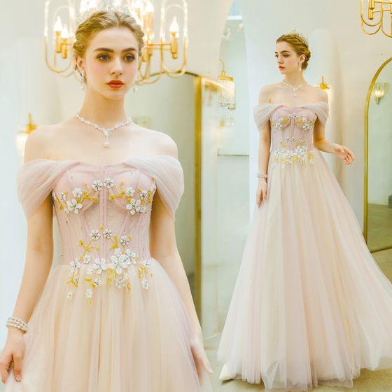 Hermoso Rosa Clara Vestidos de noche 2019 A-Line / Princess Fuera Del Hombro Rhinestone Con Encaje Flor Sin Mangas Sin Espalda Largos Vestidos Formales