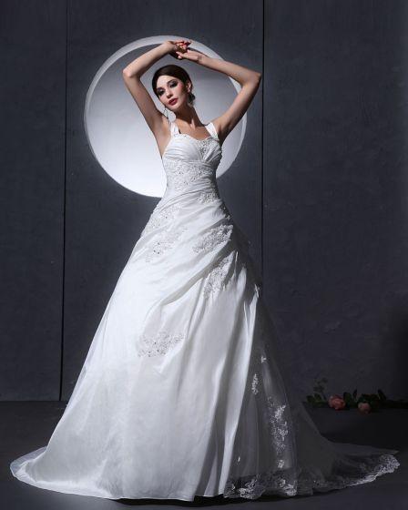 Tafta Tiul Wzburzyc Aplikacja Baldric Kaplica-line Suknie Ślubne Sukienki Ślubne Princessa