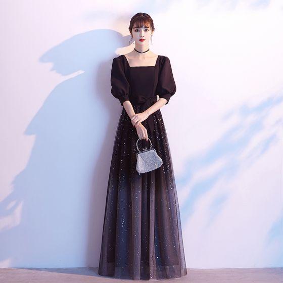 Classy Starry Sky Black Prom Dresses 2020 A-Line / Princess Square Neckline Star Sequins Bow 1/2 Sleeves Backless Floor-Length / Long Formal Dresses