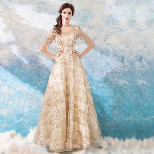 Schöne Gold Abendkleider 2018 A Linie Lange U-Ausschnitt Tülle Applikationen Rückenfreies Perlenstickerei Glanz Abend Festliche Kleider
