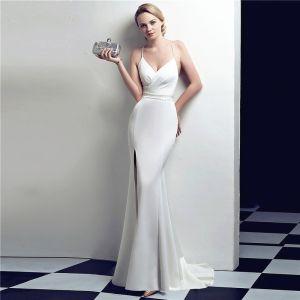 Schöne Einfarbig Weiß Abendkleider 2019 Meerjungfrau Spaghettiträger Strass Ärmellos Rückenfreies Lange Festliche Kleider