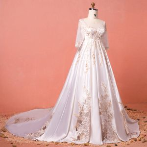 Luxury / Gorgeous Ivory Chapel Train Plus Size Wedding Dresses 2018 U-Neck Charmeuse Lace-up Appliques Beading Sequins Backless Wedding