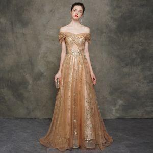 Elegant Champagne Gold Evening Dresses  2020 A-Line / Princess Off-The-Shoulder Short Sleeve Sequins Glitter Tulle Sweep Train Ruffle Backless Formal Dresses