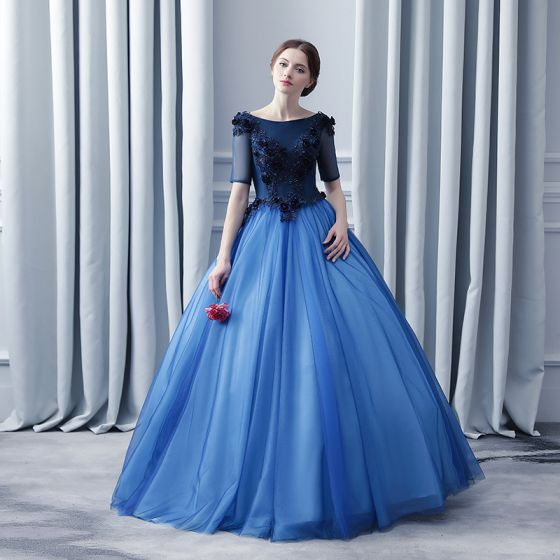 Navy Blue Prom Dresses 2017 Ball Gown