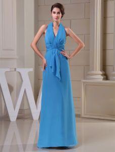2015 Einfache Reich V-ausschnitt Halfter Schärpe Lange Brautjungfernkleid