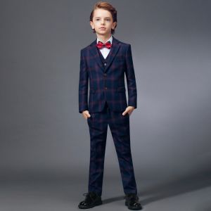 Modest / Simple Red Tie Navy Blue Checked Boys Wedding Suits 2020