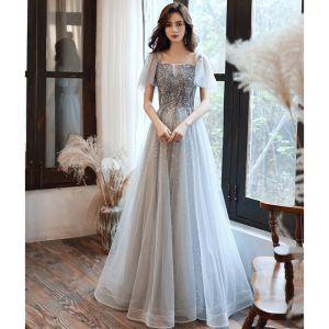 Charming Grey Evening Dresses  2020 A-Line / Princess Square Neckline Beading Sequins Lace Flower Short Sleeve Backless Floor-Length / Long Formal Dresses