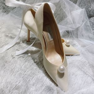 Elegante Witte Parel Bruidsschoenen 2020 Leer 10 cm Naaldhakken / Stiletto Spitse Neus Huwelijk Pumps