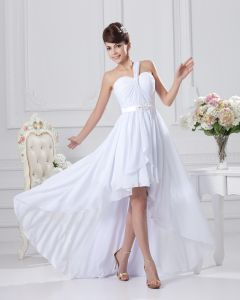 One Shoulder Ruffle Asymetrical Chiffon Mini Wedding Dress