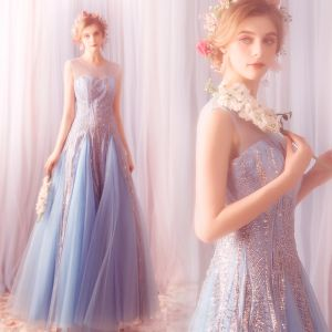 Elegant Sky Blue Prom Dresses 2019 A-Line / Princess Scoop Neck Glitter Sequins Tulle Sleeveless Backless Floor-Length / Long Formal Dresses