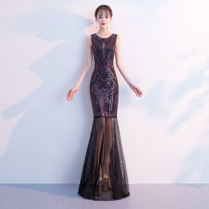 Chic / Beautiful Multi-Colors Evening Dresses  2019 Trumpet / Mermaid Sequins Scoop Neck Sleeveless Floor-Length / Long Formal Dresses