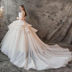 Charming Champagne Wedding Dresses 2019 Ball Gown V-Neck Pearl Sleeveless Backless Cascading Ruffles Cathedral Train