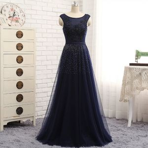 Chic / Beautiful Navy Blue Evening Dresses  2017 A-Line / Princess Lace Sequins Beading Scoop Neck Zipper Up Sleeveless Floor-Length / Long Evening Party