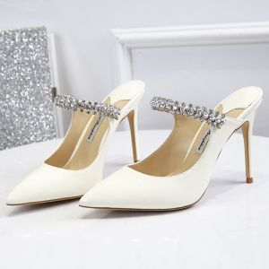 Modest / Simple Ivory Casual Womens Sandals 2020 Leather Rhinestone Buckle 10 cm Stiletto Heels Pointed Toe Sandals