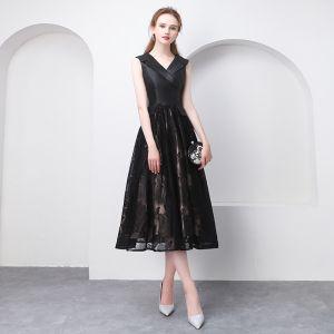 Chic / Belle Noire Thé Longueur Robe De Graduation 2018 Princesse V-Cou Tulle Impression de retour Robe De Ceremonie