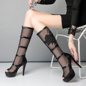 Unique Freizeit Stiefel Damen 2017 Tülle Hochhackige Stickerei Durchbohrt Plateau High Heel Peeptoes Mitte Der Wade Stiefel