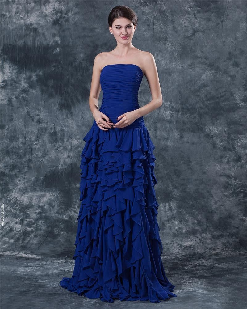 Ruffle Chiffon Strapless Floor Length Mothers of Bride Guests Dresses