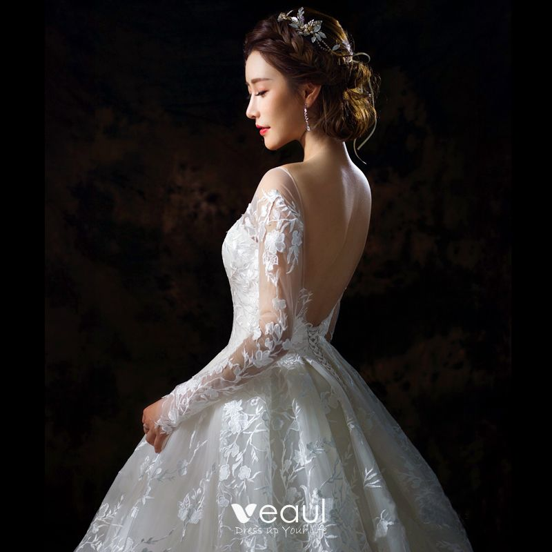 Long Sleeve Lace Wedding Dresses Ball Gown Backless: Stunning Champagne Pierced Wedding Dresses 2018 Ball Gown