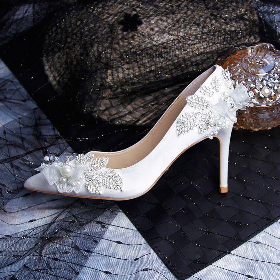 Moderne / Mode Ivoire Chaussure De Mariée 2019 Cuir Appliques Perle Faux Diamant 9 cm Talons Aiguilles À Bout Pointu Mariage Escarpins