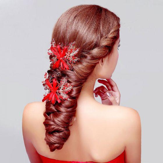 Rode Koraal De Bruids Hoofdtooi / Head Bloem / Bruiloft Haar Accessoires / Bruiloft Sieraden