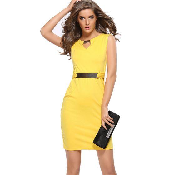 Asequible Amarillo Verano Vestidos largos 2020 Scoop Escote Sin Mangas Metal Cinturón Cortos Ropa de mujer